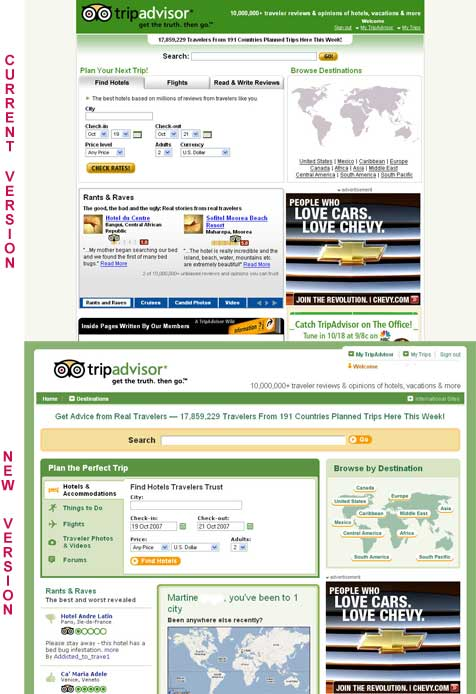 The new Tripadvisor site is online: a retail look and feel!